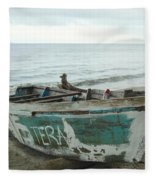 Resting Fishing Boat Fleece Blanket