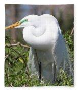 Resting Great Egret Fleece Blanket