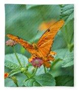 Resting Orange Butterfly Fleece Blanket