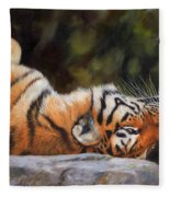 Resting Tiger Painting Fleece Blanket by David Stribbling