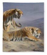 Resting Tigers Fleece Blanket