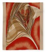 Resting Woman - Portrait In Red Fleece Blanket