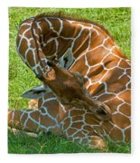 Reticulated Giraffe Sleeping Fleece Blanket