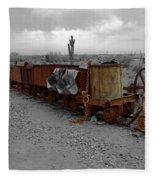 Retired Mining Ore Cars Fleece Blanket