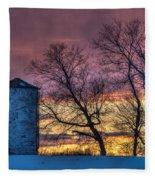 Retired Silo Watching Sunset Fleece Blanket