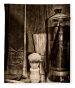 Retro Barber Tools In Black And White Fleece Blanket