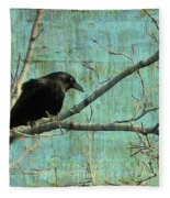 Retro Blue - Crow Fleece Blanket