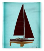 Retro Blue Sailing Fleece Blanket