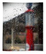 Retro Gas Pump On A Rainy Day Fleece Blanket