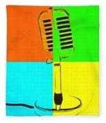 Retro Microphone Pop Art 2 Fleece Blanket