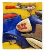 Retro Police Tricycle Fleece Blanket