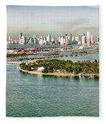 Retro Style Miami Skyline And Biscayne Bay Fleece Blanket