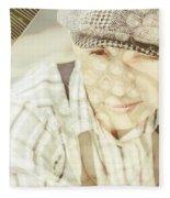 Retro Typist With Dream To Inspire Fleece Blanket