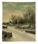 Retro Vintage Rural Winter Scene Fleece Blanket