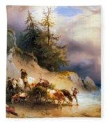 Return From The Mountain Pasture Fleece Blanket
