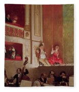 Revue At The Theatre Des Varietes, C.1885 Oil On Canvas Fleece Blanket