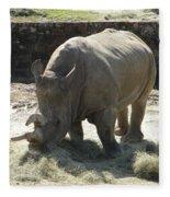 Rhino Eating Fleece Blanket