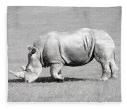 Rhinoceros Charcoal Drawing Fleece Blanket