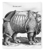 Rhinoceros No 76 From Historia Animalium By Conrad Gesner  Fleece Blanket
