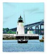 Rhode Island - Lighthouse Bridge And Boats Newport Ri Fleece Blanket