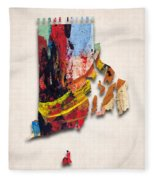 Rhode Island Map Art - Painted Map Of Rhode Island Fleece Blanket