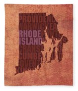 Rhode Island Word Art State Map On Canvas Fleece Blanket by Design Turnpike