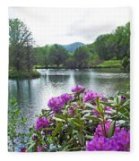 Rhododendron Blossoms And Mountain Pond Fleece Blanket
