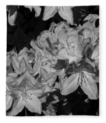 Rhododendron Heaven In Black And White Fleece Blanket
