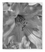 Rhododendron In Black And White Fleece Blanket