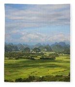 Rice Farming In China Fleece Blanket