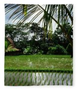 Rice Fields Bali Fleece Blanket