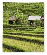 Rice Fields In Bali Indonesia Fleece Blanket