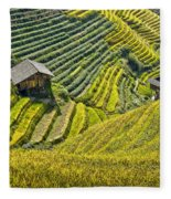 Rice Fields Terraces Fleece Blanket