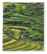 Rice Fields Vietnam Fleece Blanket