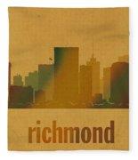 Richmond Virginia City Skyline Watercolor On Parchment Fleece Blanket