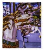Ride The Wild Carrousel Horses Fleece Blanket