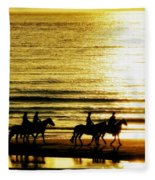 Rider Silhouettes Against The Sea Fleece Blanket