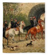 Riders At Uppsala Castle Fleece Blanket
