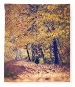 Riding A Bike In Autumn Fleece Blanket