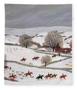 Riding In The Snow Fleece Blanket