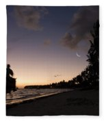 Riding On The Beach Fleece Blanket