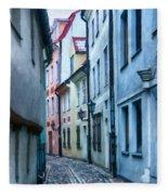 Riga Narrow Street Painting Fleece Blanket