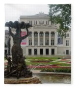 Riga National Opera House Fleece Blanket