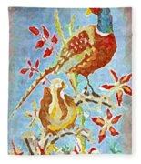 Ringneck Pheasants Fleece Blanket