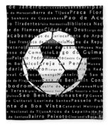 Rio De Janeiro In Words Black Soccer Fleece Blanket