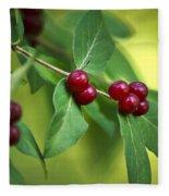 Red Berries Botanical Christmas Art Fleece Blanket