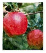 Ripe Red Apples On Tree Fleece Blanket
