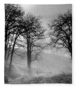 Rising Mists In The Bald Hills Fleece Blanket
