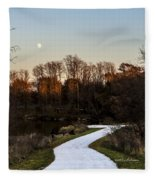 Rising Moon Fishing Fleece Blanket