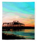 Rising Sun On The Mokelumne River Fleece Blanket